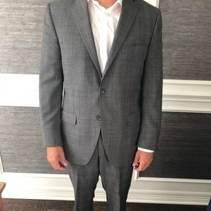 Peter Millar Gray glen plaid suit 40R